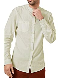 CABALLEROS lino Camisa Deshilachado Cuello MAO MANGA LARGA Trabajo Informal Verano NUEVO - Piedra - kmv071pka, Small
