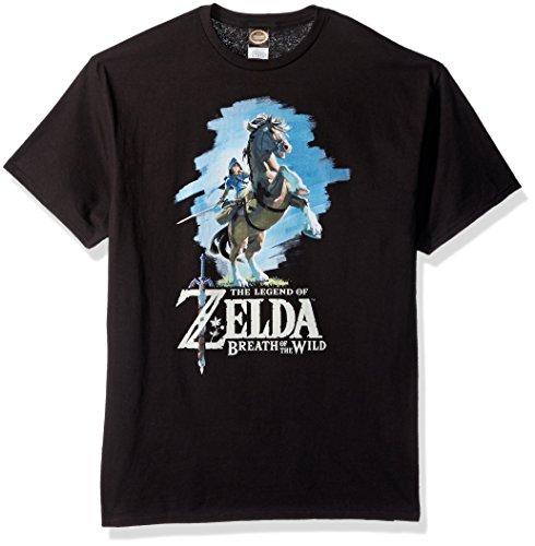 a3e31682488a Nintendo Men's Zelda Breath of The Wild Link Epona Posing T-Shirt, Black,  Small