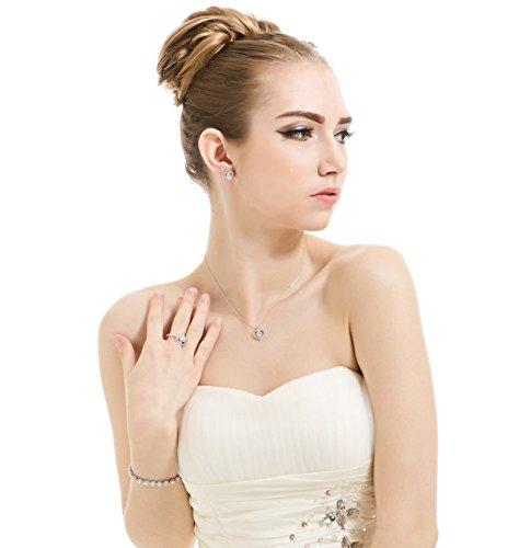 Ohrringe Halskette Schmuckset Damen, österreichischen Element-Kristall, weißes Gold überzog Solitaire Zirkonia, Herzform, perfekte Geschenk für Frauen