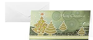 """Sigel DS348 Weihnachtskarten """"Forest"""" inkl. Umschläge, DIN lang, 10 Stück, mit Metallic Effekt"""