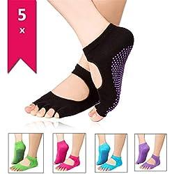 JER 5 Pares Calcetines Mujeres para Yoga Antideslizante Atletas Socquettes Mujeres en algodón Mangas Punta Abierto Color Random