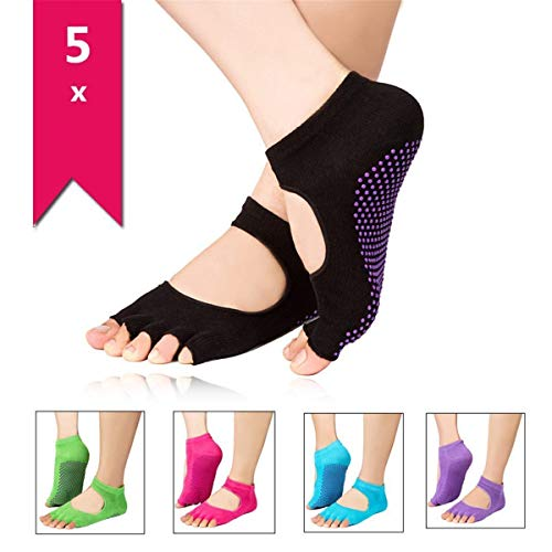 Hemore Frauen Athleten Rutschfeste Yoga Socken für Frauen in Baumwolle Socken 5Paar Zehenöffnung Fußdecke zufällige Farbe