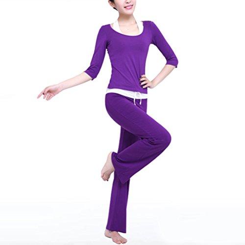 Zhhlinyuan Multi-style Fitness Athletic Yoga Set Elegant Aux femmes Three-piece Sportswear Dark Purple