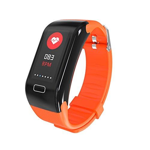 Fitness Tracker, Neue Sport Wasserdicht Smart Armband Armband Uhr Mit Pulsmesser Schrittzähler Touchscreen Für IPhone Samsung IOS Android Smartphones(Orange)