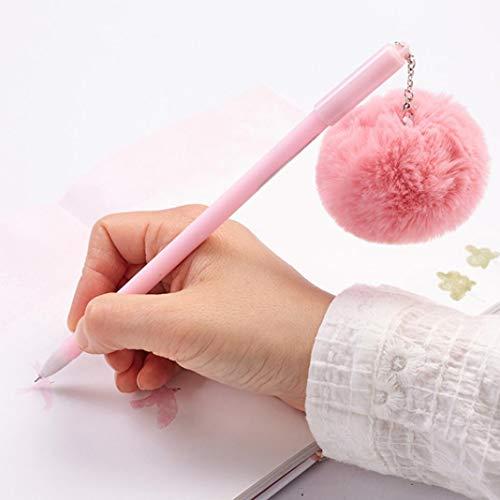 (FOReverweihuajz 0,5 mm niedlicher Faux Pelz POM Ball Pendant schwarzer Tinte Gel Stift Geschenk für Mädchen Frauen-zufällige Farbe)