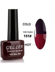 Gellen aufloesbarer Gel Nagellack UV Farbgel Thermo Nagellack Farbwechsel 8ml Farbe 151