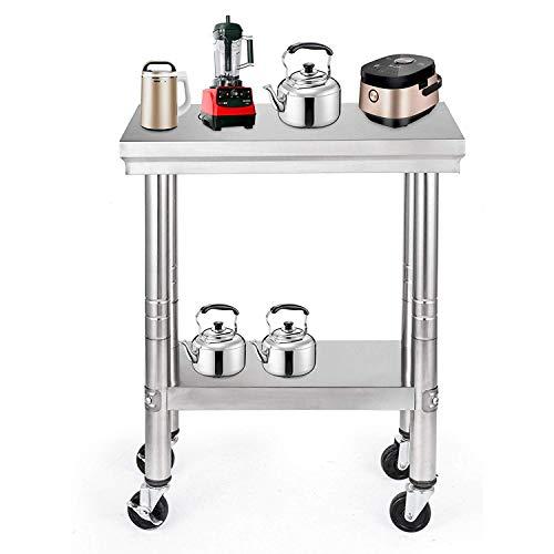 Buoqua 36″ x24 Edelstahl arbeitstisch küche Gastronomie Workbench Table Kitchen Table mit Rollen für kommerzielle Küche Restaurant Business Garage