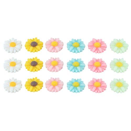 50pz Abbellimenti Misti Fiore Girasole in Resina Colore Vari Decorazione DIY