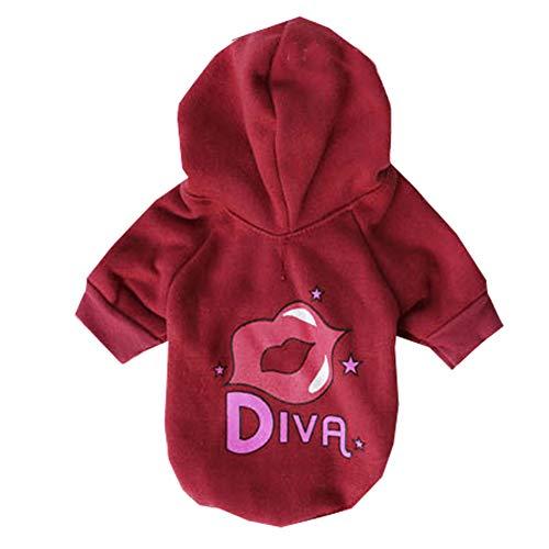 Red Tuxedo Shirt Kostüm - XGPT Hundebekleidung Haustier Kostüm Fleece rot Bedruckte Lippen Haustier T-Shirt mit Mütze,Red,M