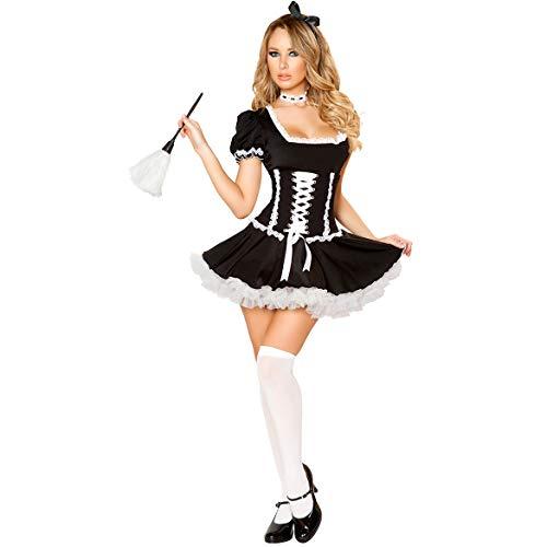 MBEN Mädchen-Erwachsene Frauen-reizvolle Mädchen-Kleid Deluxe Set, Kleid Fancy Sexy Kostüm Cosplay Dress up Outfit Kit Weiß und (Sexy Frechen Teufel Kostüm)
