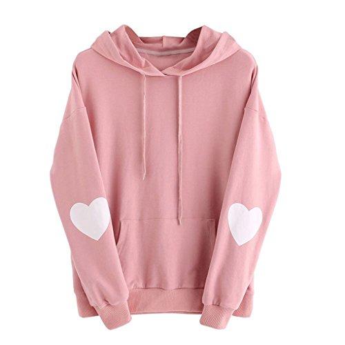 Frauenkleidung❀❀ JYJMWomens Langarm Herz Hoodie Sweatshirt Pullover mit Kapuze Pullover Tops Bluse (L, Rosa) (Rosa Schneeflocke-hose)