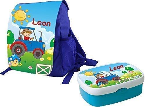 *Mein Zwergenland Set 1 Kindergartenrucksack und Brotdose Variant mit Namen, 2-teilig, hellblau*