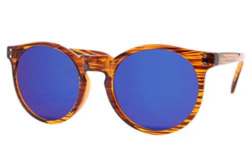 Cheapass Sonnenbrille Rund Holz Braun Verspiegelt Grün-Blau UV400 Retro Vintage Plastik Damen Herren