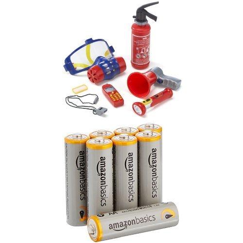 Klein – 8950 – Jeu d'imitation – Set de pompier avec masque à gaz, 7 pièces + piles AA AmazonBasics