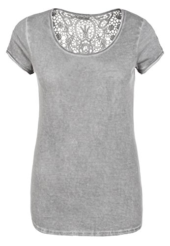 Urban Surface Damen Shirt mit Spitzenrücken | Elegantes T-Shirt im Vintage Look aus Leichtem Jersey Light-Grey XL (17 Damen Light T-shirt)