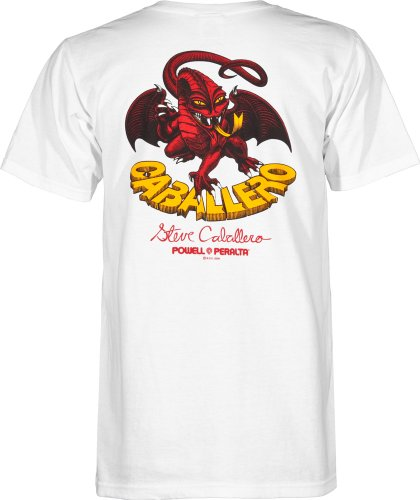 POWELL PERALTA CAB DRAGON II WHITE T-SHIRT, Blanco, L (Shirt Dragon White)