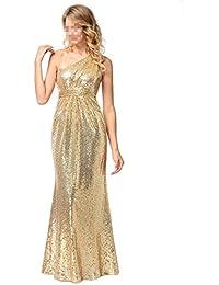 EALSN Vestidos De Dama De Honor De Sirena Con Un Hombro Largo Lentejuelas Vestidos De Novia Vestido De Fiesta,Gold-S