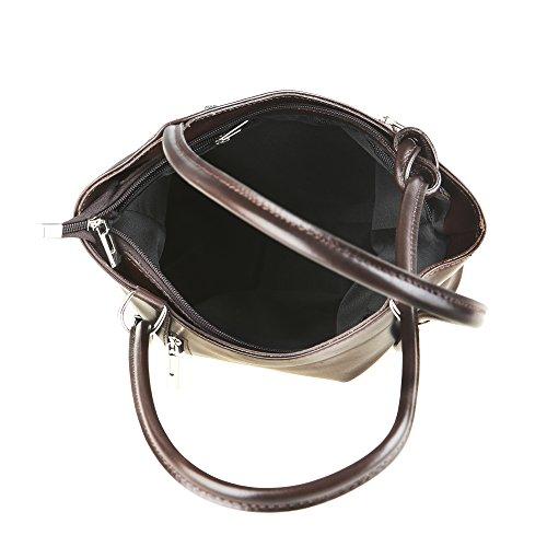 Chicca Borse Frau Umhängetasche aus echtem Leder Made in Italy 28x30x9 Cm Dunkelbraun