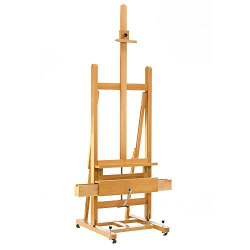 Lienzos Levante 1410101134 - Caballete de pintura de estudio ref.134 de madera de haya lacada, color natural, con 2 cajones, ruedas y freno, uso profesional y aficionados