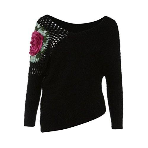 Rawdah Femmes Pull De Fleur Crochet Rose Pull Pierced Printemps Automne Pulls Roses Crochet Fleurs Creux Chandail Tops Blouse Fleurs Crochet Creux DéBardeurs Chemisier (Taille unique, Beige) Noir