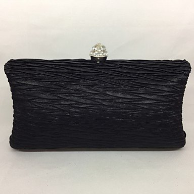 pwne Frauen Abend Tasche Seide All Seasons Event / Party Kissen Push Lock Grau Schwarz Champagner Black