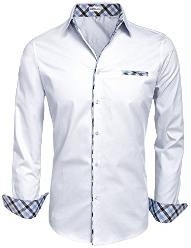 hotouch-homme-chemise-slim-fit-habillee-manches-longues-m-blanc