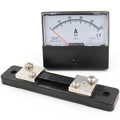 Heschen Rechteck-Panel montiert Stromzähler Amperemeter Tester DH-670 DC 0-50A Klasse 2,0 mit Shunt Amperemeter Shunt
