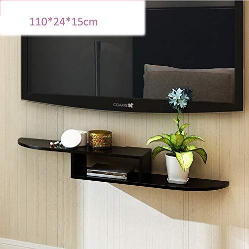 MTX Ltd Wandhalterung für DVD-Komponenten, Set-Top-Boxen, Kabelboxen, Streaming-Geräte und Dvrs mit Schwarzglas-Ablage Sehr Robust, 110 * 24 * 15cm, Black - Draht Dvd-rack