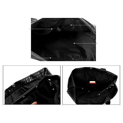 Donna Il Nuovo Tessuto Trapezoidale Shopping Bags Borse A Tracolla Borse Grande Capacità Reticolo Temperamento PU borsa Pink