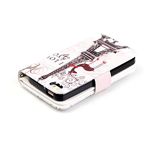 Coque Etui pour iPhone 5C, iPhone 5C Portefeuille Cuir Coque Housse, iPhone 5C PU Leather Case Wallet Cover Flip Coque, Cozy Hut Protecteur Housse de Protection Étui Coque Flip PU Cuir Folio portefeui Je t'aime, tour, cerfs