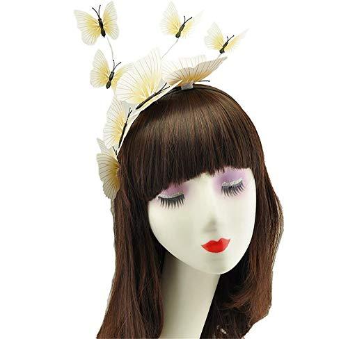 puretime Mädchen Schönheit handgemachte Frühling Schmetterling Stirnband Braut Blume Krone Damen Kostüm zarte Hochzeit Haarschmuck (White)