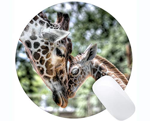 Rechteck-runde Mausunterlage, wilde Tiergiraffe Gummi Mousepad genähte Ränder