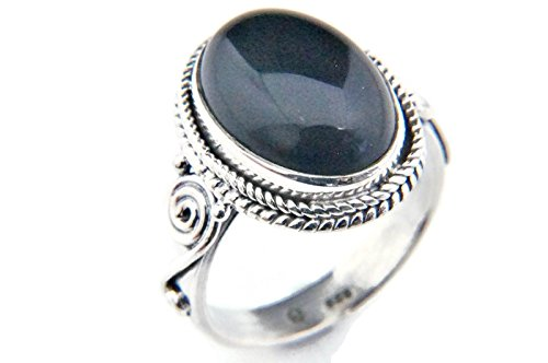 Ring Silber 925 Sterlingsilber Onyx schwarz Stein 1 (Nr: MRI 66), Ringgröße:62 mm/Ø 19.7 mm