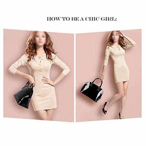 AiSi Damen Lack Leder Handtasche/ Damenhandtasche/ Schultertasche/ Henkeltasche mit Reißverschluss Schwarz