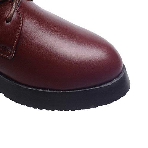 AllhqFashion Damen Rein Niedriger Absatz Rund Zehe Reißverschluss Stiefel mit Metallisch Braun