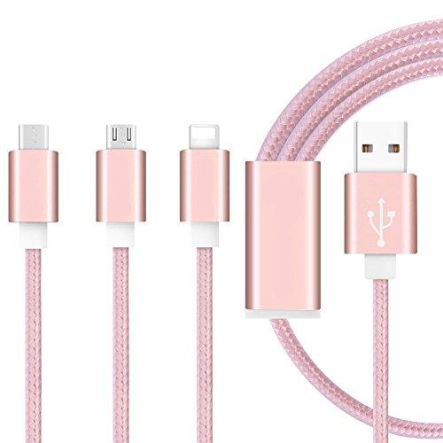 I-Sonite (Rose Gold Premium-Qualität 1 Meter Länge 3 in 1 Mehrere USB-Ladekabel High Speed Nylon Geflochtene mit Typ C / 8 Pin Beleuchtung/Micro USB-Anschluss für Wiko Rainbow up 4G
