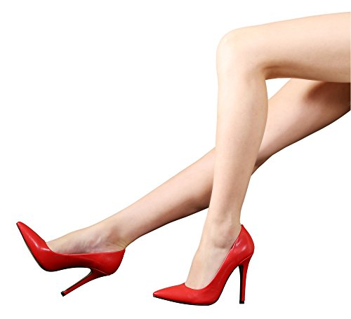 Guoar Große Größe High Heels Büro Schuhe PU Spitze Zehen Mehrfarbig Stiletto Pumps Rot