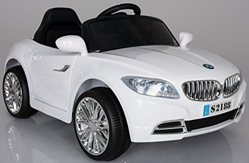 Ricco S2188 WHITE Kids Coupe BMW Style Ride on Car with LED Lights Music Parental Remote Control