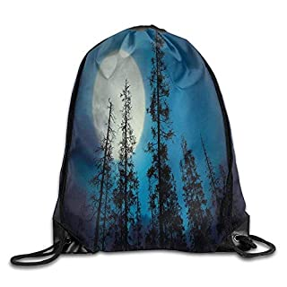 DANCENLI Fashion Gym Low Angle View of Spooky Mysterious Forest with Tall Trees Big Full Moon Drawstring Gym Sack Sport Bag for Men and Women