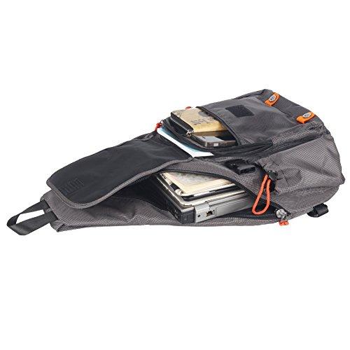 """Groß Sling-Rucksack Tasche Umhänge 13"""" 14"""" Laptop Crossover Schulter Sling Bag grau"""