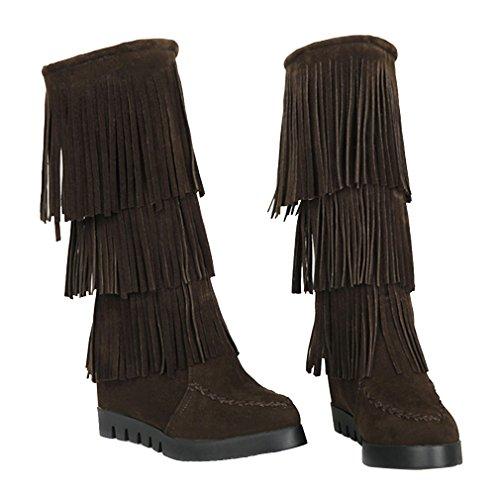 YE Damen Nubuckleder Mittelalter Stiefeletten mit Fransen Keilabsatz 6cm Absatz Herbst Winter Mid Calf Boots Schuhe Braun