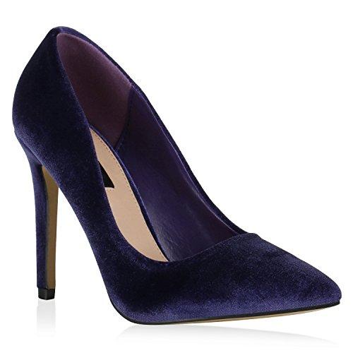 Stiefelparadies Spitze Damen Schuhe Pumps Samtoptik Stilettos High Heels 143754 Blau Samtoptik 36 Flandell