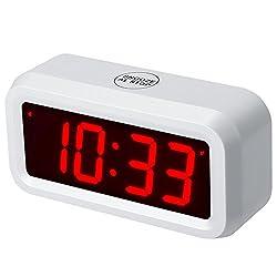 """Timegyro Digitaler Wecker Batteriebetrieben mit 1,2 """"großem Display für Schlafzimmer, schwere Wächter (Weiß)"""