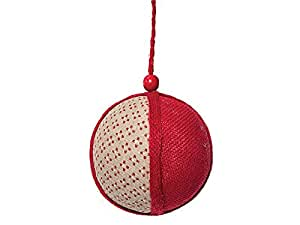 Pendente sfera in maglia rossa e avana ø12cm