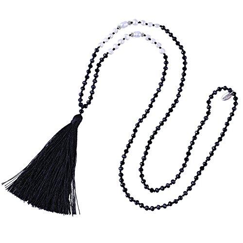 Kelitch perle d'acqua dolce collana di perline di cristallo ciondoli lunghi fatti a mano con nappe novità gioielli di fascino per le donne (nero d)