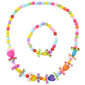 Angel Glitter Flowery Heart Necklace Bracelet Jewellery Set for Kids (AG_JS2_FH)