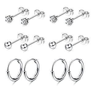 Sllaiss 6 Pairs Sterling Silver Stud Earrings Set Small Hoop Silver Ball Round CZ Stud Earrings for Women Minimal Cartilage Earrings Set Hypoallergenic