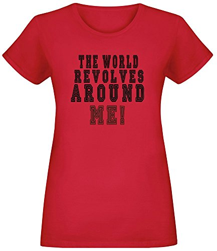 Die Welt dreht Sich um Mich! - The World Revolves Around Me! T-Shirt Top Short Sleeve Jersey for Women 100% Soft Cotton Womens Clothing Large