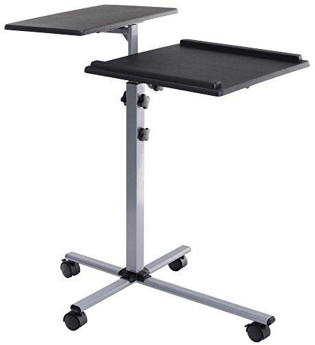 Pronomic PT-2 Beamer- und Projektorwagen Beamertisch, Rollwagen Medienwagen für Video-, Dia-, Overhead-Projektoren, Laptoptisch, Notebooktisch (höhenverstellbar, 2 Ablageflächen, neigbar, 4 Laufrollen) schwarz