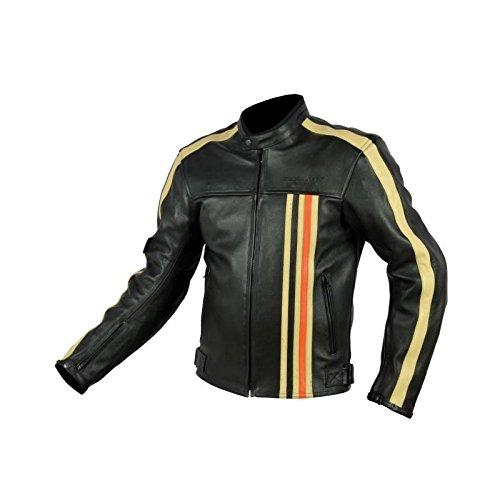RIDER-TEC Blouson Moto Cuir Vintage Homologué CE-13595, Noir/Orange, L